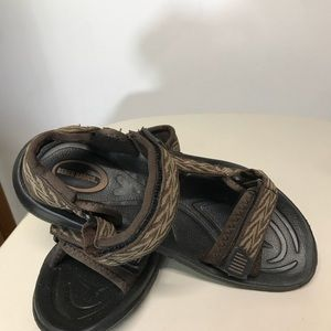 502eebe34e9c46 Beach Basics Shoes - Beach Basics Men s Brown Sandals   2 Velcro Straps